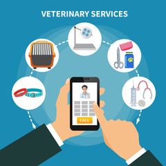 Veterinary Service Flat Composition