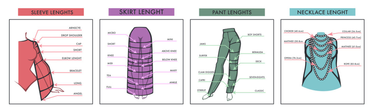 Female clothes length with names designs for seamstresses
