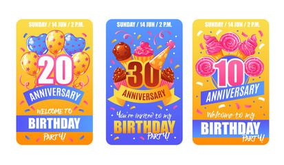 Birthday Anniversary Cards Banners