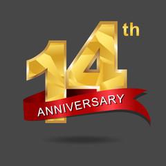 14th anniversary, aniversary, years anniversary celebration logotype. Logo,numbers and ribbon anniversary.