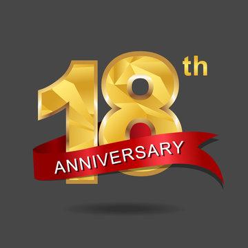 18th anniversary, aniversary, years anniversary celebration logotype. Logo,numbers and ribbon anniversary.