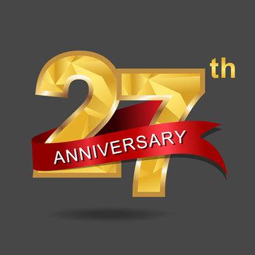 27th anniversary, aniversary, years anniversary celebration logotype. Logo,numbers and ribbon anniversary.