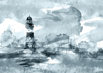 Watercolor illustration of lighthouse. Storm on the sea, clouds, dews, storm, hurricane. A splash of blue, gray, purple paint. Art illustration, postcard Beautiful tower.