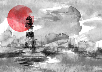 Watercolor illustration of lighthouse, industry, smoke, haze, fog. Storm on the sea, clouds, dews, storm, hurricane. A splash of blue, gray, purple paint. Art illustration, postcard. Beautiful tower.