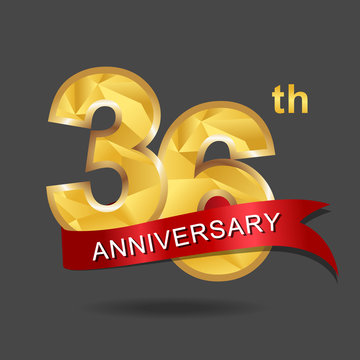 36th anniversary, aniversary, years anniversary celebration logotype. Logo,numbers and ribbon anniversary.