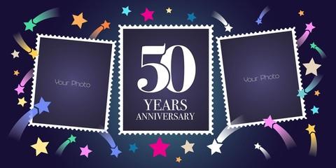 50 years anniversary vector emblem, logo