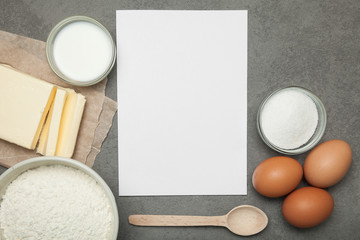 The recipe for cooking homemade cakes, an empty sheet of paper.