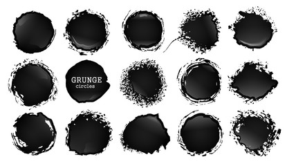 Vector blot of ink or oil. Splattered stain of paint, splash, drop black liquid. Design element for banner. Abstract vector illustration with splatter and blot isolated on white background.