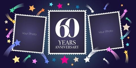 60 years anniversary vector emblem, logo