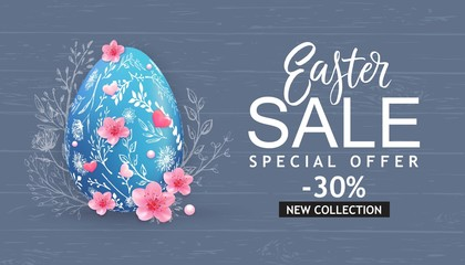 Easter Sale banner, card with hand drawn flowers, eggs on wood background.