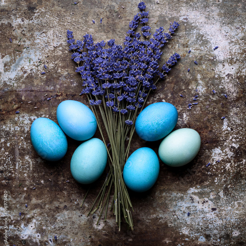 Happy Easter Rustic Concept With Copy Space DIY Dyed Various Shades