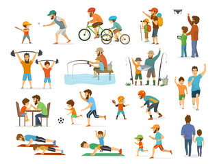 active family father and son collection, man and boy playing american  football, soccer ball, flying drone, riding bike fishing exercising  arm wrestling running jogdo push ups  hiking