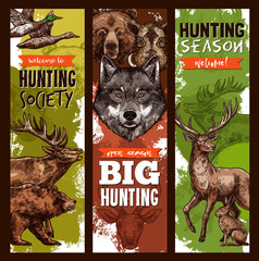 Vector hunt club hunting sketch banners