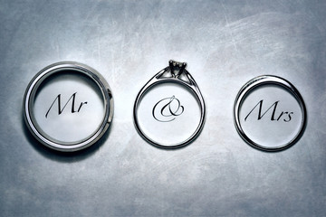 Bridal Wedding Rings With Mr & Mrs Scripted In The Image