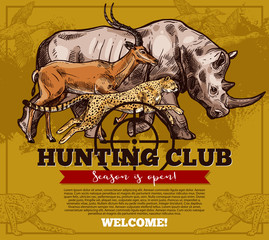 Vector hunting club open season sketch poster