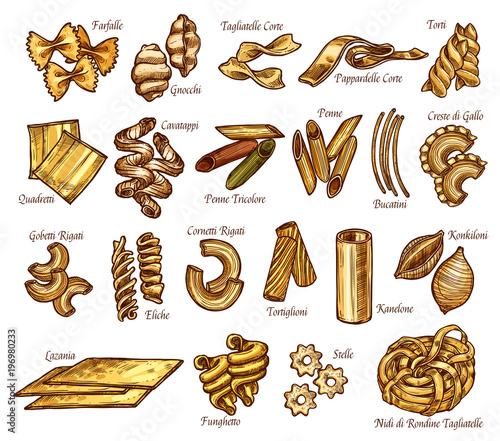 Vector Italian Pasta Sketch Sorts Icons Stock Image And Royalty