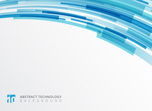 Abstract technology curve overlapped geometric squares shape blue colour on white background with copy space.
