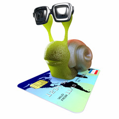3d Funny cartoon snail character flying on a debit card