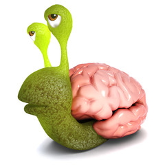 3d Funny cartoon snail character carrying a brain instead of a shell