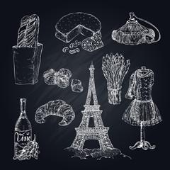 Hand Drawn Paris Symbols Set