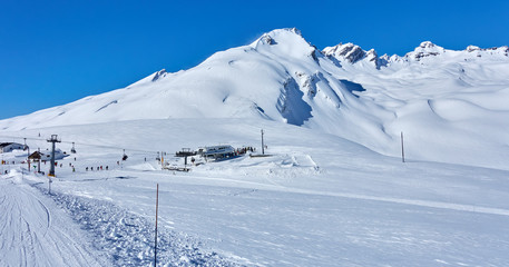 Skiing on the San Bernardo Pass near La Thuile and La Rosiere (c