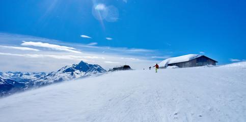 Skiing on the San Bernardo Pass near La Thuile and La Rosiere (c