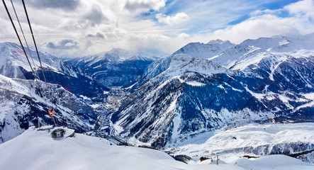The cable railway to Monte Bianco in Courmayeur (Italy) - a very