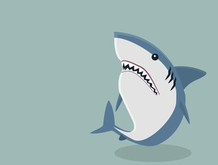 Cute White shark vector