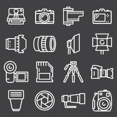 Vector line Photography icon set