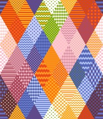 Seamless patchwork pattern from colorful rhombuses patches. Bright multicolor vector illustration of quilt.