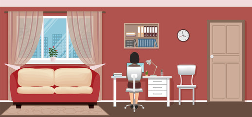 Business woman employee sitting on working place at home. Freelance worker character working in domestic interior.