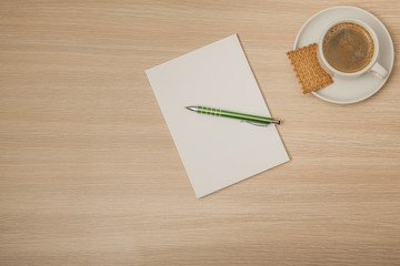 an empty notebook on a corporate desk,