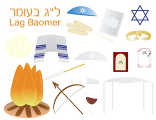 Set of Jewish holiday Lag Ba'omer icon cliparts