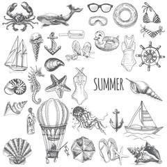 Vector illustration sketch set - vacation at sea. Summertime vintage design.