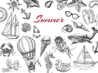 Vector illustration sketch -vacation at sea. Summertime vintage design template, banner.