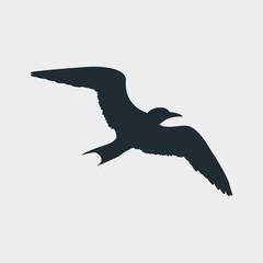 Icono plano silueta gaviota en fondo gris