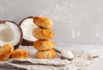 Stack of vegan homemade coconut cookies, light background. Healthy vegan food concept.