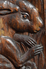 Carved bench end in a church