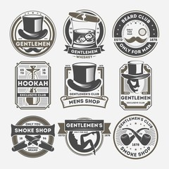 Gentleman vintage label set isolated vector illustration. Smoke shop badge, beard club logo, only for man symbol. Gentleman emblem collection with cylinder hat, cigar, whiskey, mustache, smoking pipe