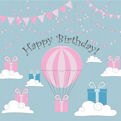 Vector Illustration. Perfect to Birthday cards, postcards, stickers, labels, banners, posters and other things hith balloon and gift boxes in pink and blue colors