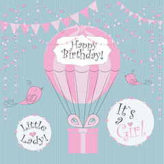 Vector Illustration. Perfect to newborn Birthday cards, postcards, stickers, labels, banners, posters and other things with balloon and gift box in pink and blue colors. Its a girl. Little lady