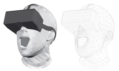 Polygonal head of a man in virtual reality glasses