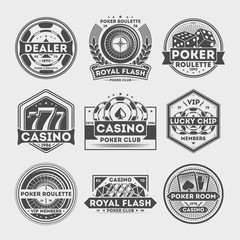 Сasino vintage label set isolated vector illustration. Poker roulette badge, royal flash logo, vip poker club dealer symbol, lucky casino chip emblem. Games of chance or gambling sign collection.