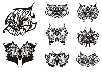 Tribal butterfly wings tattoo in black and white tones. Ornate detailed abstract butterfly wing and set of ethnic butterflies on a white background for your design