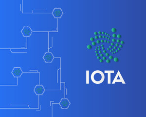 Cryptocurrency IOTA circuit on blue background style