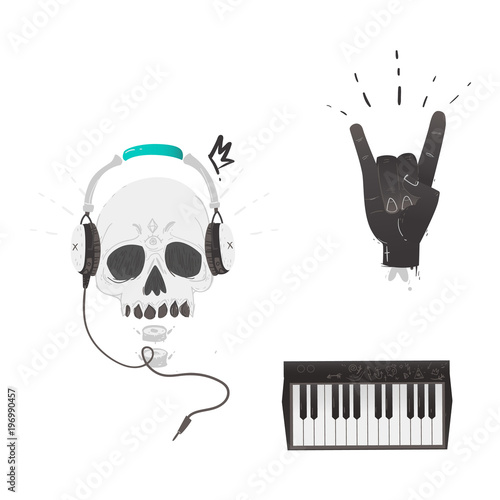 Vector Flat Music Symbols Set Hand Showing Rock And Roll Sign