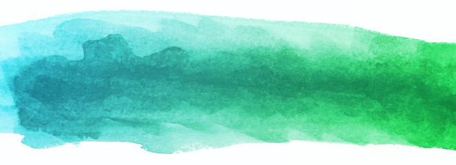 Blue and green strip Watercolor texture with water color blots and wet paint, stripes multicolored for design