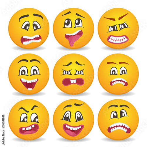 Emoticons Or Smileys Isolated Vector Icons Set For Web Cute Smiley