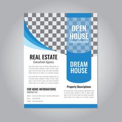 Real estate flyer or brochure template vector design with blue wave color illustration