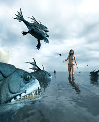 3d fantasy illustration,Woman being attack by a monster fish,book cover or book illustration concept background